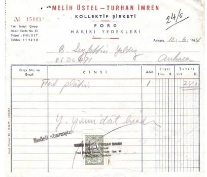MELİH ÜSTEL-TURHAN İMREN-ANKARA 1964 FATURA.