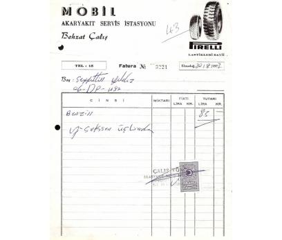 MOBİL AKARYAKIT İSTASYON-ANKARA 1973 FATURA.