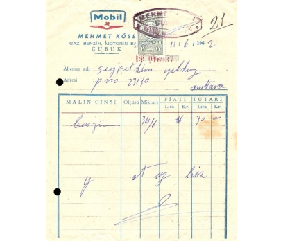 MOBİL-MEHMET KÖSE-ANKARA 1962 FATURA.