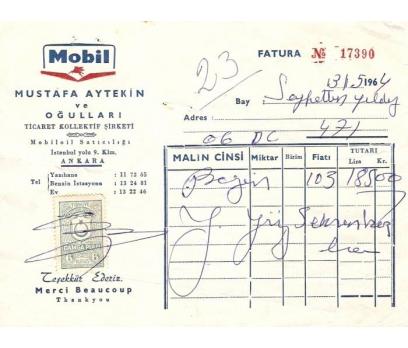 MOBİL-MUSTAFA AYTEKİN-ANKARA-1969 FATURA.