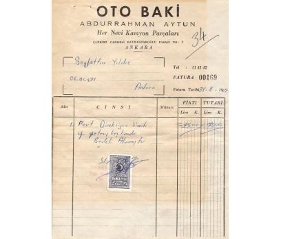 OTO BAKİ-ABDURRAHMAN AY-ANKARA 1967 FATURA.