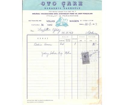 OTO ÇARH-BAHADDİN ÇARH.-ANKARA 1969 FATURA.