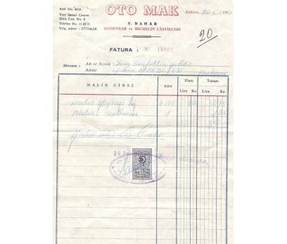OTO MAK-OTO LASTİKLERİ.-ANKARA 1967 FATURA.