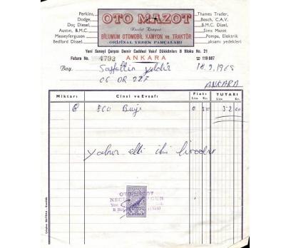 OTO MAZOT-ANKARA 1965 FATURA.