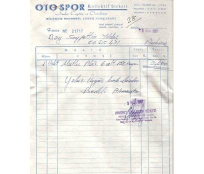 OTO SPOR-YEDEK PARÇA-ANKARA 1967 FATURA.