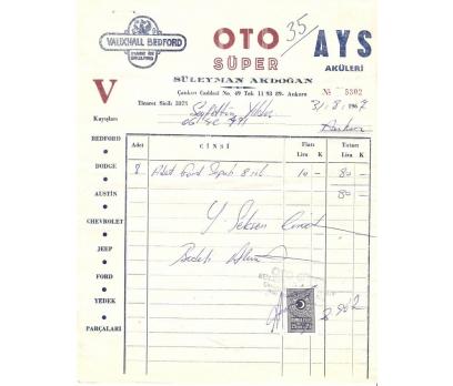 OTO SÜPER-AYS,AKÜLERİ-ANKARA 1967 FATURA.