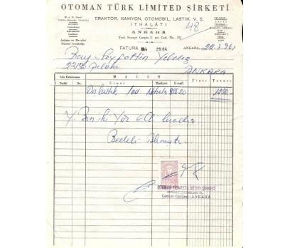 OTOMAN TÜRK LTD.ŞTİ.-ANKARA 1961 FATURA.