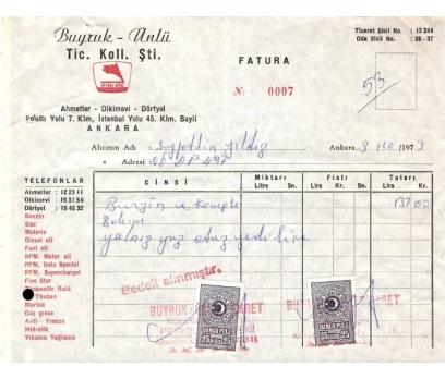 PETROL OFİSİ BAYİİ.ANKARA 1973 FATURA.