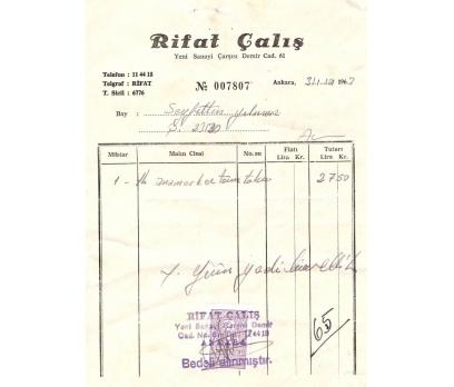 RIFAT ÇALIŞ-ANKARA 1963 FATURA.