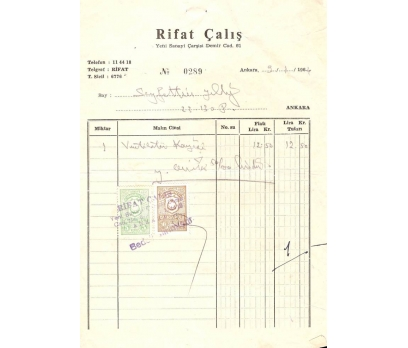 RİFAT ÇALIŞ-ANKARA 1964 FATURA.