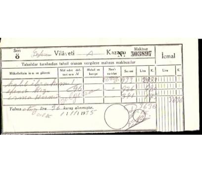 SEYHAN VİLAYETİNE AİT MAKBUZ.1935