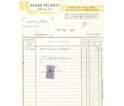 ŞUTAŞ TİCARET-ANKARA 1968 FATURA.