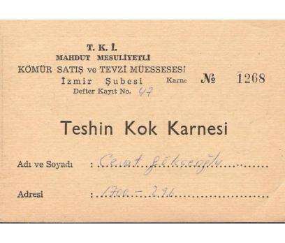T.K.İ.KÖMÜR -KOK KARNESİ-İZMİR
