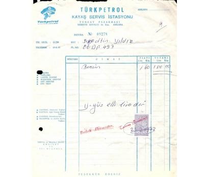 TÜRK PETROL-KAYAŞ İSTASY-ANKARA 1973 FATURA.