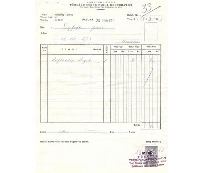 TÜRKİYE YEDEK PARÇA KOOP-ANKARA 1967 FATURA.