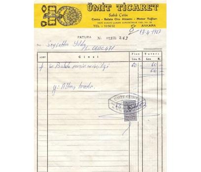 ÜMİT TİCARET-ANKARA 1967 FATURA.