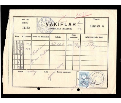 VAKIFLAR TAHSİLDAR MAKBUZU.