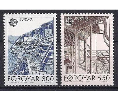 1987 Faroe Adaları Europa Cept Mimari Damgasız**