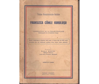FRANSIZCA CÜMLE KURULUŞU-baha öngel-1960
