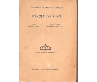 İLKSAHAF&PSİKOLOJİYE GİRİŞ-HENRY E. GARRETT-1966