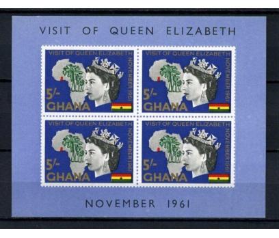 GANA ** 1961 KRALİÇE ELİZABETH BLOK  (111014)