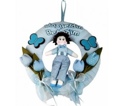 Laleli Bez Bebekli Kapı Süsü-mavi