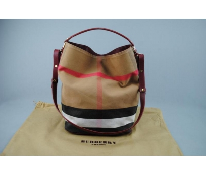 BURBERRY CANVAS CHECK HOBO BAG MEDİUM
