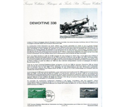FRANSA 1987 HATIRA FÖY UÇAK & DEWOITINE338(130315)