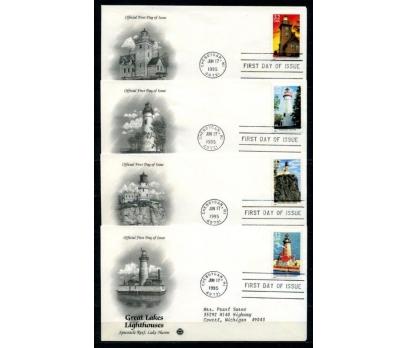 ABD 1995 DENİZ FENERLERİ TAM SERİ 4 FDC (270415)