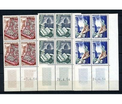 FRANSA ** 1954 TEKSTİL 3 VALÖR  DBL (050415)