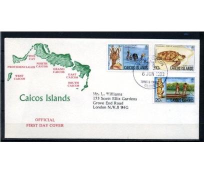 CAICOS AD. FDC 1983 DENİZ CANLILARI SÜPER (070515)