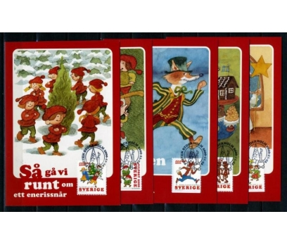 İSVEÇ 2000 CHRISTMAS TAM SERİ 5 KARTMAX (040515)