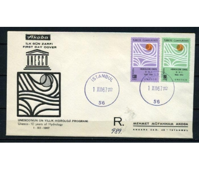 CUMH.FDC 1967 UNESCO HİDROLOJİ AKOBA SÜPER(190515)