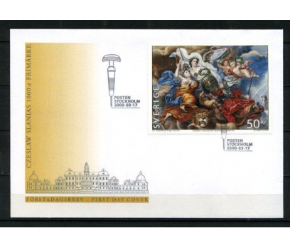 İSVEÇ FDC 2000 TABLO 50 KRON BLOK SÜPER (090515)