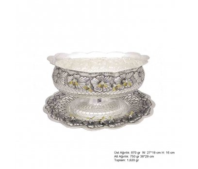 Arı Desenli Oval Gümüş Boller