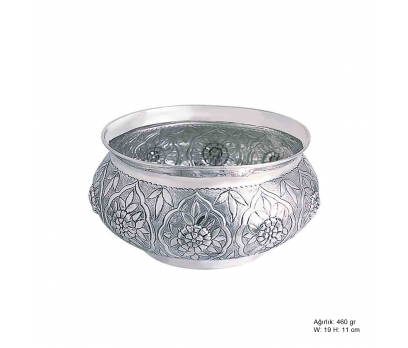 Çiçek Desenli Gümüş Şekerlik