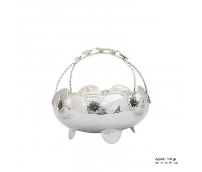 Çiçek Motifli Gümüş Sepet