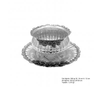 Frezya Çiçek Desenli Gümüş Boller