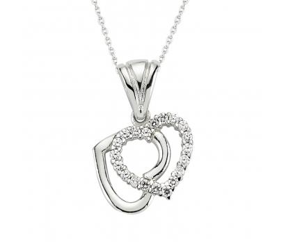 Gümüş Çift Kalpli Bayan Kolye