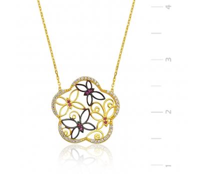 Gümüş Kelebek Çiçeği Bayan Kolye
