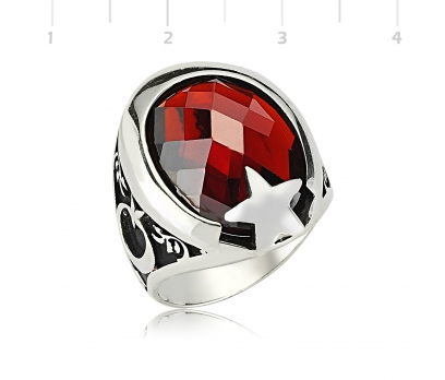 Gümüş Kırmızı Taşlı Ay Yıldız  Yüzük
