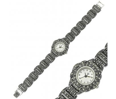 Gümüş Markazit Taşlı Bayan Saat 1
