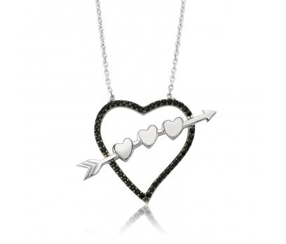Gümüş Oklu Kalp Bayan Kolye