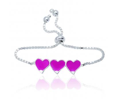 Gümüş Pembe Üç Kalp Çocuk Bileklik