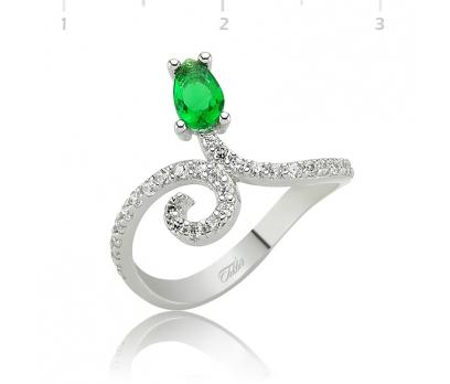 Gümüş Yeşil Damla Taşlı Bayan Yüzük