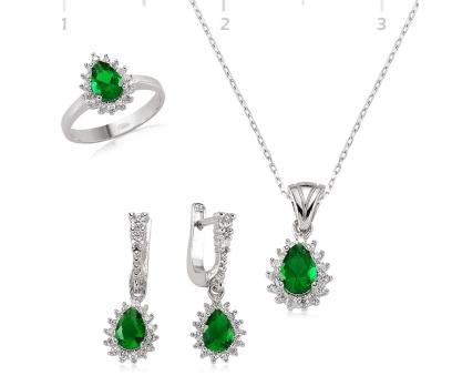 Gümüş Yeşil Taşlı Damla Bayan Set