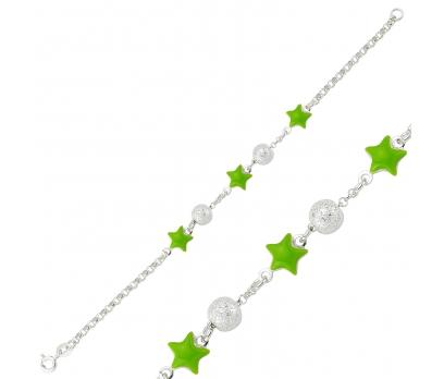 Gümüş Yeşil Yıldız Çocuk Bileklik