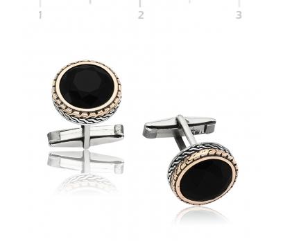Gümüş Yuvarlak Siyah Taşlı Kol Düğmesi