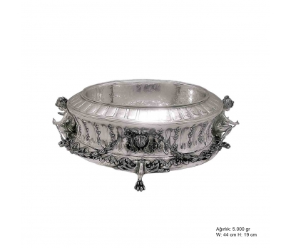 Lale Motifli Gümüş Jardinyer