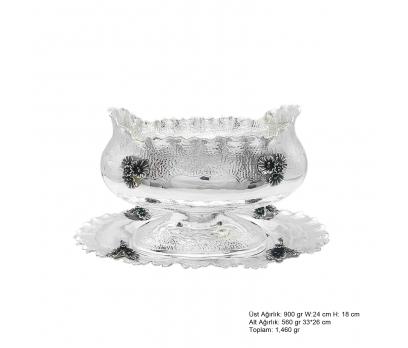 Lilyum Motifli Gümüş Boller